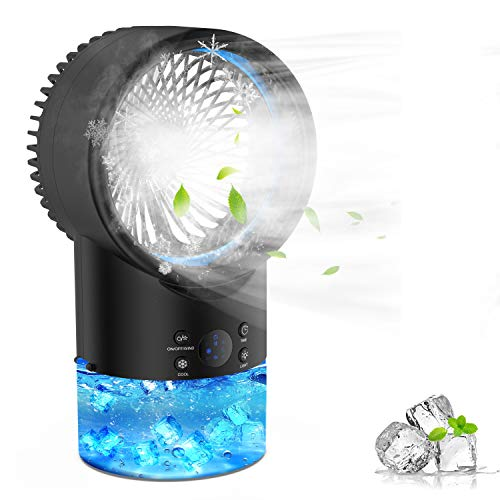 Aire Acondicionado Portatil Enfriador Aire, EEIEER 4 IN 1 Mini Air Cooler Personal Aire Acondicionado Portátil Oficina Turbo-Ventilador Ventilador Humidificador Purificador para Casa/Oficina