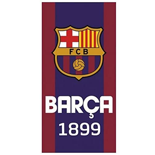 FC Barcelona - Toalla de playa (70 x 140 cm, 100% algodón, 350 g), color azul