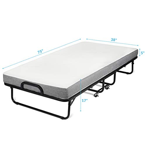 Milliard Diplomat Folding Bed – Twin Size - with Luxurious Memory Foam Mattress and a Super Strong Sturdy Frame...
