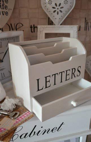 DRULINE Briefbox Briefablage Organizer Weiß mit Letters Schriftzug 20 cm x 17 cm x 10 cm
