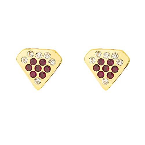Orecchini Per Bambini Diamante Con Rubino - Oro Giallo 9K (375)