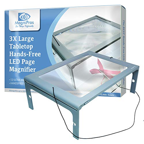 3X Large Full Page Magnifier with 12 LED Lights[Provide Evenly Lit Viewing Area], Foldable Flip-Out Legs, Dual Power Supply Modes- Ideal for Hands Free Reading, Low Vision, Seniors with Aging Eyes