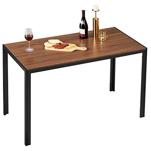 Alecono Dining Table with 120 * 60CM Large Desktop for 2-4 People Kitchen Table for Kitchen and Dining room Computer Desk,Brown