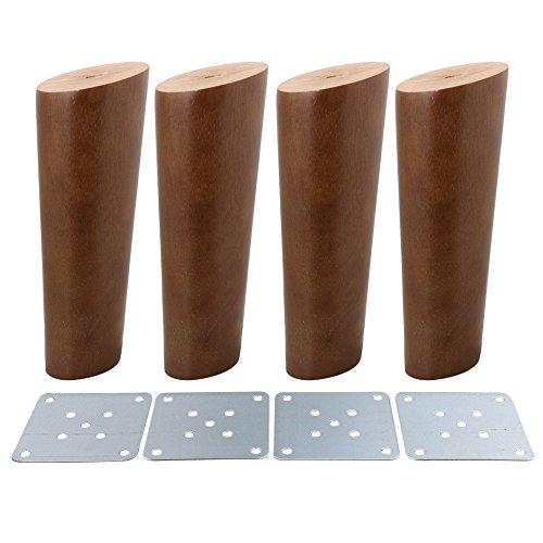 BQLZR Möbelfüße, walnussfarben, schräg, konisch, zuverlässig, aus Holz, 4Stück, M4170724026
