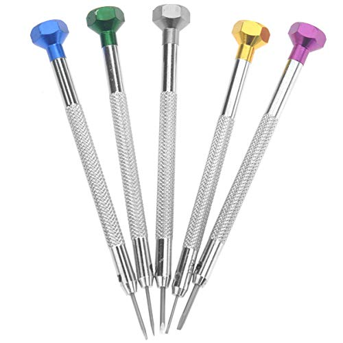 Angoily 5Pcs Herramientas de Reparación de Relojes Destornilladores Juego de Destornilladores de Joyería de Micro Precisión Reemplazar Cuchillas Destornillador de Reparación de Anteojos