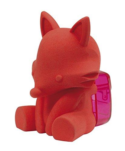 Westcott E-66062 00 Radierer 3D mit Anspitzer, für Stiftdurchmesser 8mm, Fuchs (Rot)