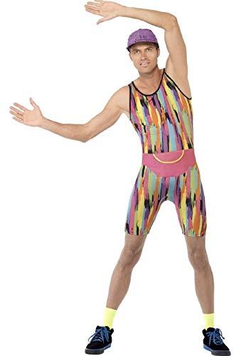 Fancy Me Herren Herr Motivator Herr Energizer 1990s 90s Jahre Aerobic Instructor Neon TV Persönlichkeit Promi Kostüm Kleid Outfit - Mehrfarbig, Large