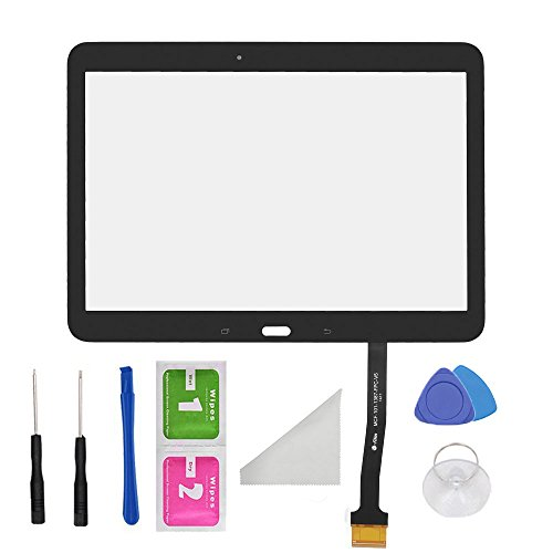 Black Touch Screen Digitizer Panel Glass Replacement Part For Samsung Galaxy Tab 4 10.1 SM-T530 T531 T535 PreInstalled Adhesive and Tools