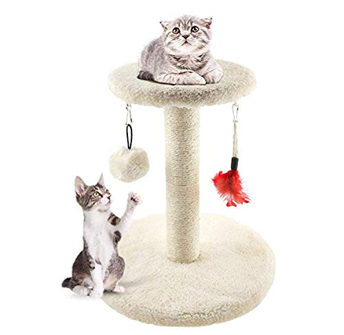 MXiiXM Cat Tree Tower, cat Climbing Frame Furniture Scratching Post for Kitty Climber House Cat Play Tower Activity Centre for Playing Relax and Sleep (7.08 X 11.02 X 11.81 inch, Beige)