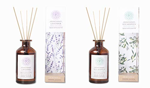 Farm to Aromatherapy Reed Diffusers, Spa Bathroom Pack: Eucalyptus & Lavender, Soothing, Mood Enhancer, Create a Spa-Like Oasis, Long Burn, Stress Relief, Promotes Wellness, Clean & Pure (2-Pack)