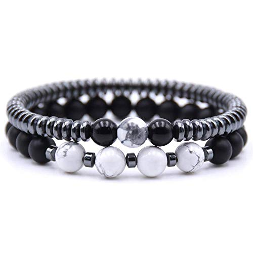 Armband Armreif,Schmuck Geschenk,2Pcs/Setfashion Natural Stone 8Mm Beads Bracelet Men 6Mm Hematite Round Tablets Chain Bracelets for Women