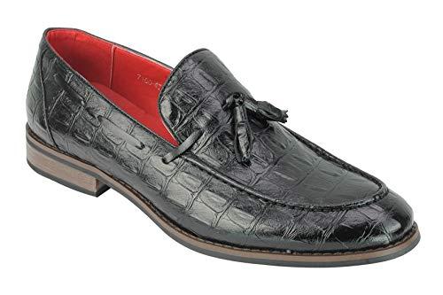 Imitación De Cuero Negro Slip Hombres En El Verano Casual O Zapatos Formales Tamaño del Holgazán De 6-12