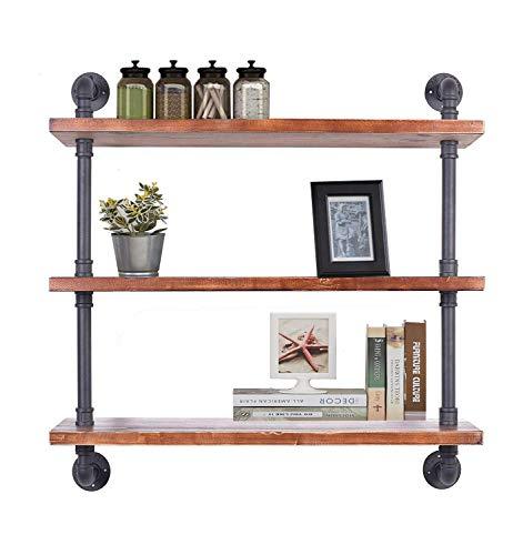 Oyydecor Industrial Pipe Shelves, Wall Mount Hung Bracket, Retro Iron Storage Pipe Shelving, Home Improvement Kitchen Shelves, DIY Open Bookshelf, No Planks (2 Pcs 4 Tier)