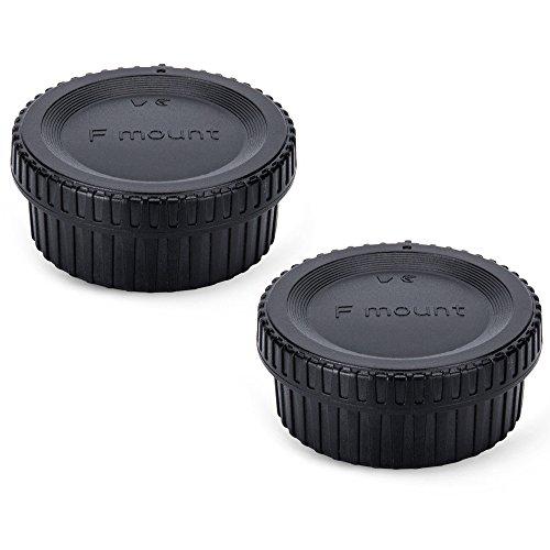 2 Pack JJC Body Cap and Rear Lens Cap Cover Kit for Nikon D7000 D7100 D7200 D7500 D5600 D5500 D5300 D5200 D5100 D3500 D3400 D3300 D3200 D780 D750 D610 D500 D850 D810 & More Nikon F Mount DSLR and Lens