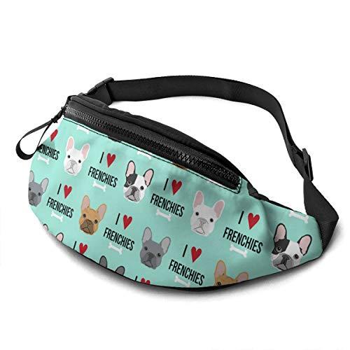 French Dog Bulldog Large Fanny Pack Sports Belt Waist Pack Shoulder Bag Bum Bag Hip Sack For Hiking Running Traveling Rave