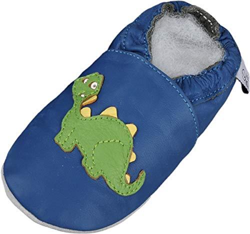 Lappade Dino 2 Mehrfarbig Wildleder Dino Geckos Löwe Lederpuschen Hausschuhe Krabbelschuhe Baby Lauflernschuhe mit Ledersohle (Gr. 26/27 EU 3XL, Art. 43)
