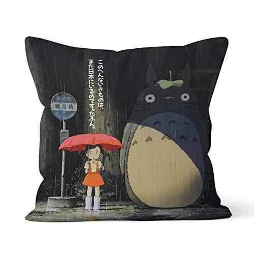 Funda de cojín con dibujo animado Mi vecino Totoro Home Dormitorio cojín decorativo tamaño 40 x 40 cm