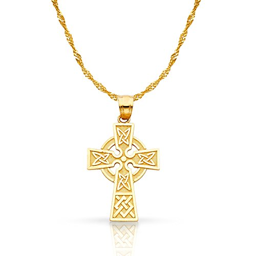 14K Yellow Gold Celtic Cross Pendant with 1.2mm Singapore Chain Chain Necklace - 18'