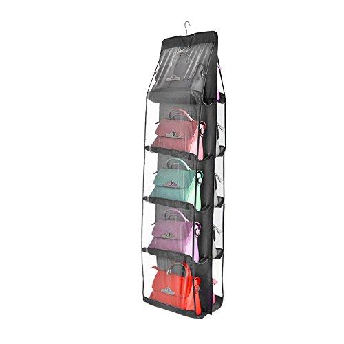 TOP-MAX Speicher Handtasche Organiser Closet Kleiderschrank klar Geldbörse Toys Schuhe Tuch Cluth Clutch Taschen hängende Aufbewahrung für Wohnzimmer Schlafzimmer Schrank (Grau)