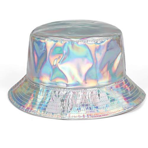 Gwxevce Mujeres Hombres Imitación de Cuero Harajuku Bucket Cap Glitter Metálico Holográfico Reflectante Reversible Sombrero de Pesca de Borde Ancho