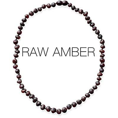 Meraki Adult Amber Necklace - Raw Unpolished Baroque Baltic Amber Necklace | All Natural Pain Relief for Adults to Help Migraines, Sinuses, Arthritis and More | Dark Cherry Color (22 Inches)