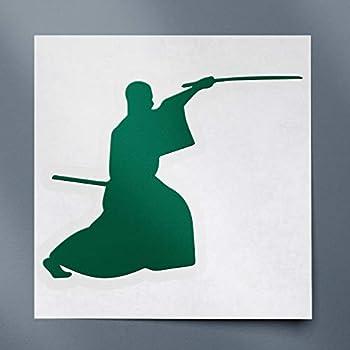 Decal Stickers of Samurai Silhouette Warrior Ninja Clipart 4  Green   Set of 2  Premium Waterproof Vinyl Decal Stickers for Laptop Smartphone Car Dirt Bike Wall Room Mason Jar - ANDstic101833GR
