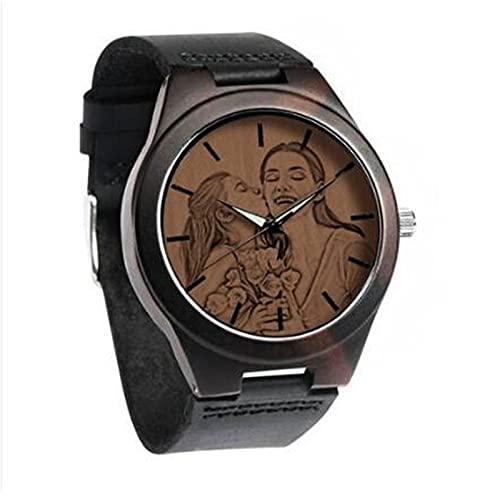 Benutzerdefinierte Vatertagsuhr mit Foto Herren Ebenholz Foto Uhr Bandname Gravierte Armbanduhr mit Bild Personalisierte Vatertagsfoto Geschenk für Vater Ehemann(Schwarz-Männer 45mm)