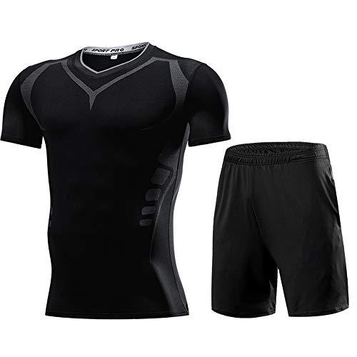 Gym Kleding Voor Men,2 Stuk Hardlopen Suit Gym Sportkleding Training Set Hardlopen Yoga Lichtgewicht Korte Mouw Sport Kleding, Geschikt voor Heren Running/Fitness/Sport/Voetbal Wedstrijden