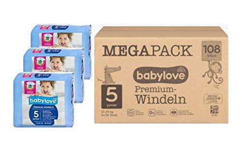 babylove Premium-Windeln junior 5, 10-16kg, 3x36 Stck. Megapack 108 Stück