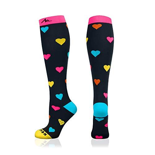 NEWZILL Compression Socks (20-30mmHg) for Men & Women (Heart, Medium)