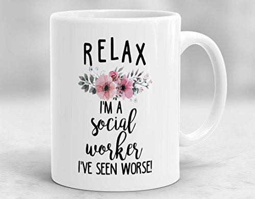 CiCiDi Mug-Relax bin ich ein Sozialarbeiter-Becher, Sozialarbeiter-Becher, Sozialarbeiter-Geschenk, Becher für Sozialarbeiter, Sozialarbeiter-Cup