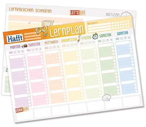 Häfft Lernplaner Block A4 mit 50 Blatt |Wochenplaner mit To-Do-Liste, Tracking, Lernpäckchen, Zielen, großem Notizfeld und mehr | klimaneutral & nachhaltig