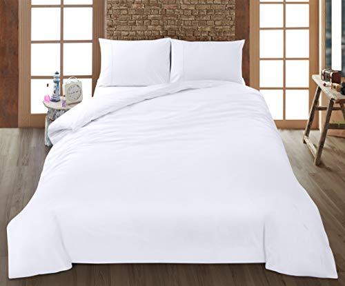 Utopia Bedding 4 Piezas Juego de Cama - Microfibra Cepillada - Funda de Nórdica, sábana Bajera Ajustable de 2 Fundas de Almohada - (Cama 150, Blanco)
