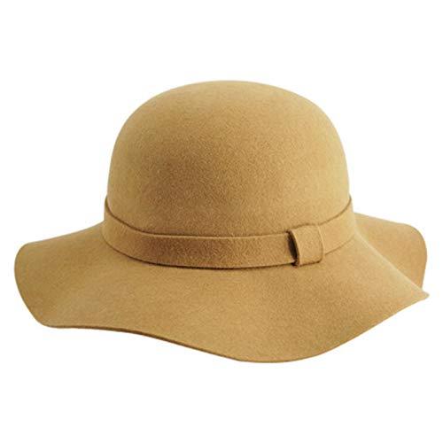 Otoño sólido Sombrero Chica, Sombrero de Fieltro de Borde Ancho Elegante Sombrero francés, Fuera de Compras Sentirse Bien
