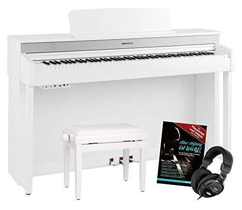 Steinmayer DP-361 WM Digitalpiano - 88 Tasten mit Hammermechanik - Ebony/Ivory Touch - Bluetooth Audio/MIDI - Set inkl. Klavierbank, Kopfhörer und Schule - weiß matt