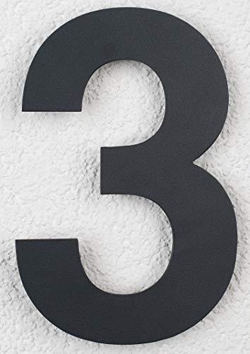 SEM Hausnummer 3 Edelstahl Pulverbeschichtet Anthrazit RAL 7016 16cm 160mm modern