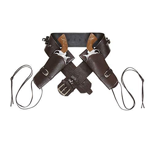 Widmann 8003558010530 1053 - Cowboygürtel braun, mit 2 Tasche aus Lederimitat