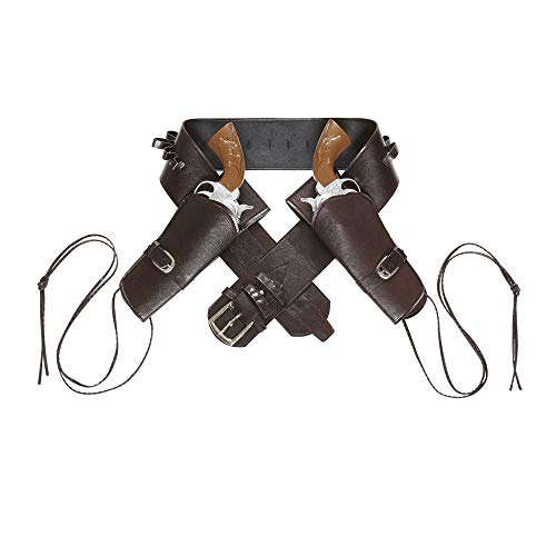 Widmann 01053 - Cowboygürtel braun, mit 2 Tasche aus Lederimitat