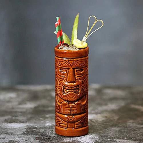 Tiki Tazas para cócteles, de cerámica hawaiana para fiestas, vasos exóticos, copas de coctel Tiki Bar profesional hawaiano, barware – 400 ml