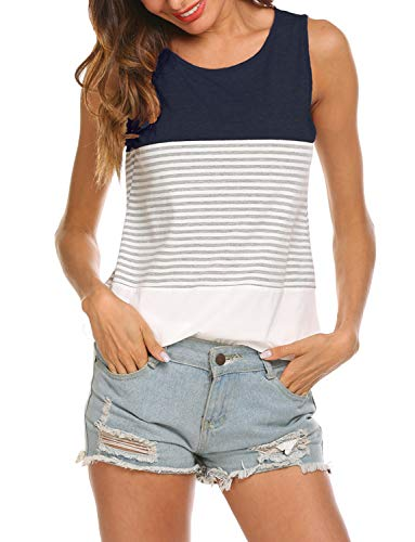 Hount Womans O Neck Striped Cute Summer Tank Tops (Navy Blue, S)
