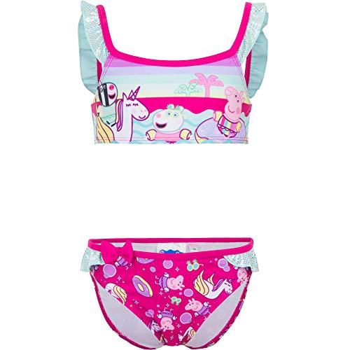Peppa Wutz Pig Bikini Mädchen Bikini-Set Bademode Zweiteiliger Badeanzug, Farbe:Pink, Größe:110