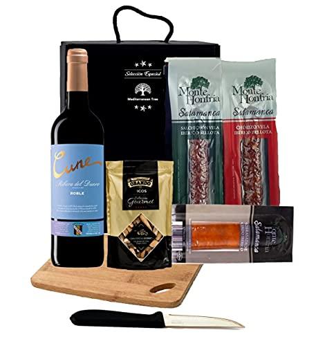 Estuche Caja Gourmet para regalar + Vino Tinto + Embutidos Ibericos + Tabla de corte + cuchillo