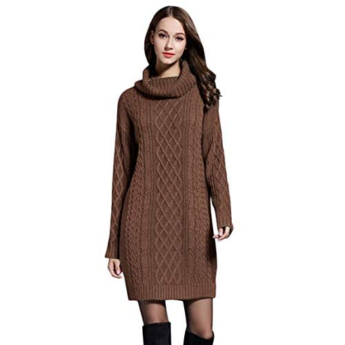 Womens Knitted Dress Sweater Jumper Turtle Neck Long Sleeve Comfy Solid Color Casual M-4XL