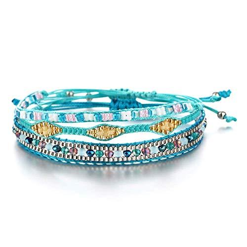 CEXTT Cuentas de Cristal Bohemio Amistad Braidación Trenzada Pulseras para Las Mujeres encantos Tejido de algodón Cadena de la Cuerda Pulsera de la joyería de los Hombres