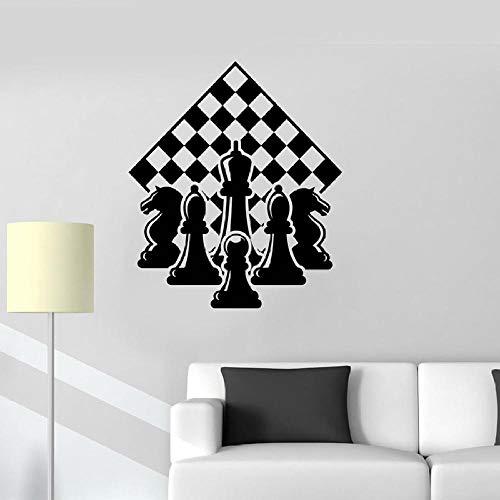 Calcomanía de pared de ajedrez, pieza de jugador, tablero de ajedrez, tablero de ajedrez, vinilo, puerta, ventana, pegatinas, dormitorio, sala de estar, decoración del hogar, Mural-negro_57x65 cm