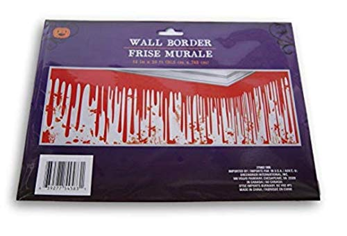 SD Halloween Kids Adults Creepy Spooky Stickers Door Window Wall Borders Clings (BONUS SD EXCLUSIVE AUTOCOLLANTS EN FEUTRE) Party Decorations Haunted House ~ Dripping Bloody Blood Wall Border