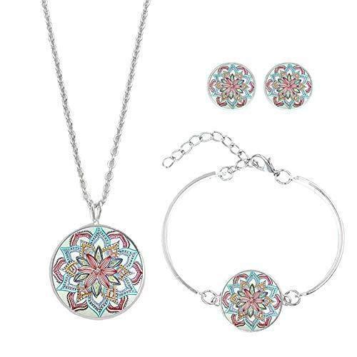 Hoveey Schmuckset Datura Blumen-Anhänger Legierung Ethnische Halskette Armband Ohrringe Schmuck Geschenk für Frauen Mädchen Mutter Frau Tochter Sie