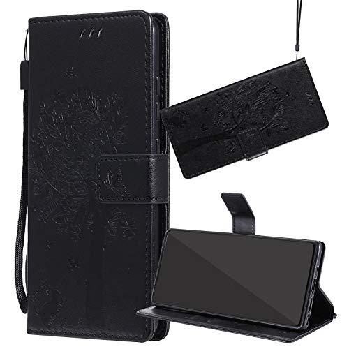 Yiizy Handyhüllen für ZTE Blade L110 (A110), Lederhülle Brieftasche Schutz Hülle TPU Silikon Innenschale Klapp Cover mit Media Kickstand und Kartensteckplätze Design (Schwarz)