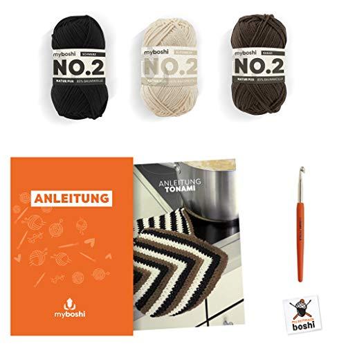 myboshi Häkel-Set Topflappen Tonami | aus No.2 | Anleitung + Wolle | mit passender Häkelnadel | Topflappen-Häkel-Set | Schwarz Elfenbein Kakao