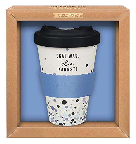 Grafik-Werkstatt Premium Becher mit Deckel |Kaffeebecher to go | 400 ml | Egal was - du kannst!